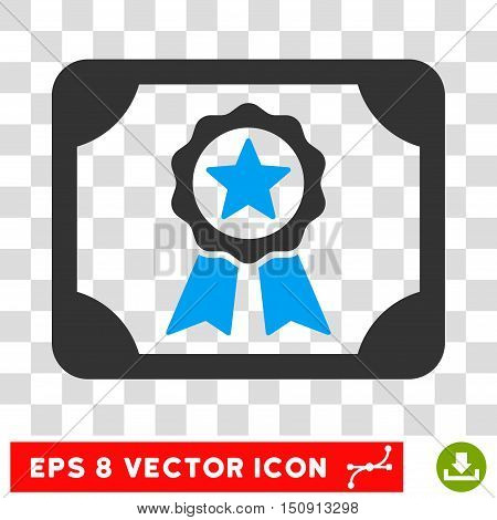 Vector Certificate EPS vector pictograph. Illustration style is flat iconic bicolor blue and gray symbol on a transparent background.