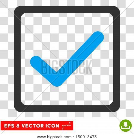 Vector Checkbox EPS vector pictogram. Illustration style is flat iconic bicolor blue and gray symbol on a transparent background.