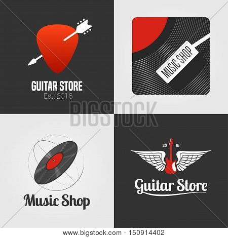 Guitar shop, music store set, collection of vector icon, symbol, emblem, logo, sign. Template graphic design elements with guitar, wings, vinyl disc for music related business