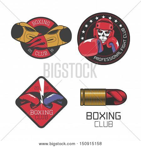 Boxing, box club set of vector icons, logo, symbol, emblem, signs, illustration. Nonstandard template graphic design elements with boxing gloves for club, school, championship