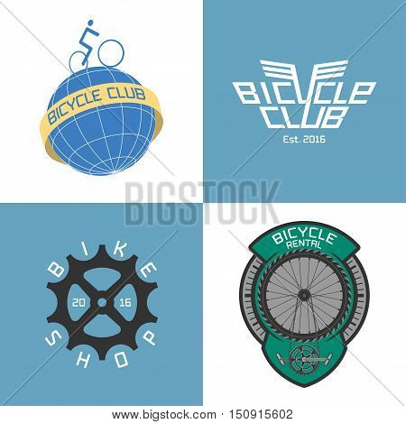 Bicycle shop, rent a bike, bicycle repair set of vector logo, icon, symbol, emblem, sign. Graphic design element, illustration for store, race, competition