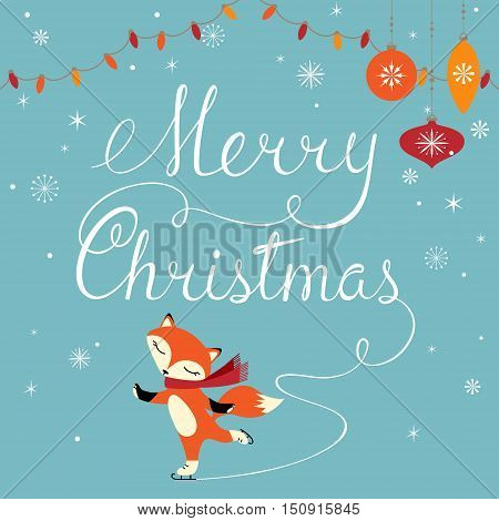 Christmas greeting card with cute figure skater fox.