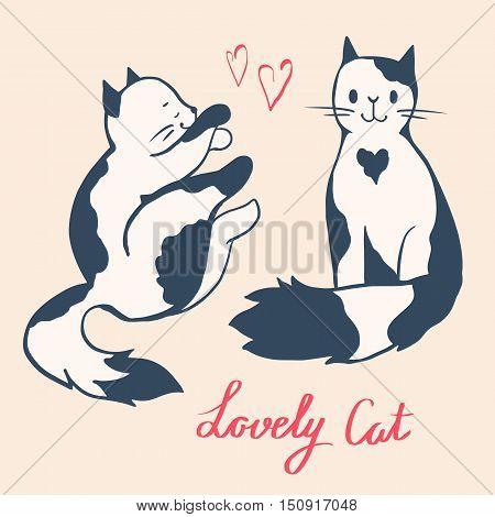 Illustration of funny cartoon cats. Hand-drawn illustration. Vector