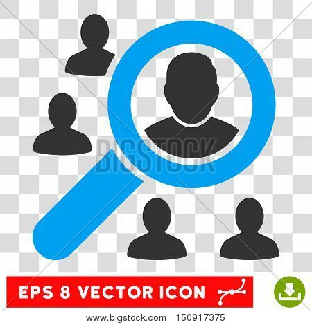 Vector Marketing EPS vector pictograph. Illustration style is flat iconic bicolor blue and gray symbol on a transparent background.