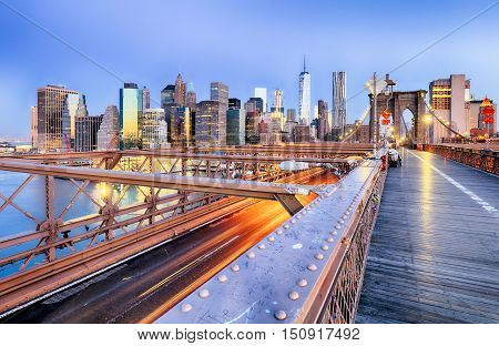 New York City with brooklyn bridge Lower Manhattan USA