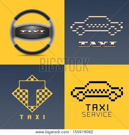 Taxi, cab, car hire set of vector logo, icon, app emblem, symbol. Pixel yellow cars, steering wheel graphic design element