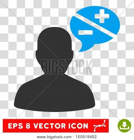 Vector Person Arguments Balloon EPS vector icon. Illustration style is flat iconic bicolor blue and gray symbol on a transparent background.