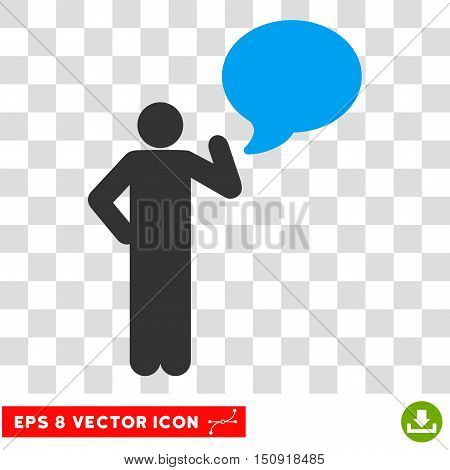 Vector Person Idea Balloon EPS vector icon. Illustration style is flat iconic bicolor blue and gray symbol on a transparent background.
