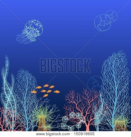Underwater background with corals, jellyfishes and fishes.