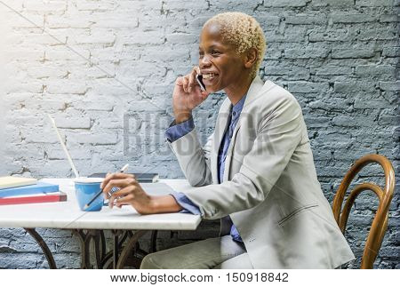 African Descent Business Woman Phone Call Restaurant Concept