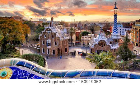 Barcelona at sunset park Guell nobody, Spain