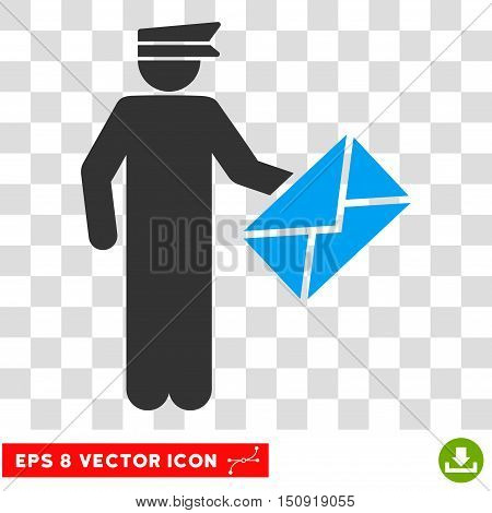 Vector Postman EPS vector pictogram. Illustration style is flat iconic bicolor blue and gray symbol on a transparent background.
