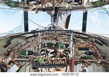 The interior cockpit. Abandoned Mi-6 Soviet helicopter.