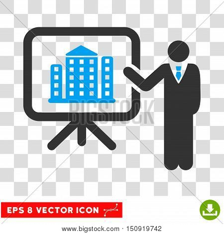 Vector Realty Project Presentation Manager EPS vector pictogram. Illustration style is flat iconic bicolor blue and gray symbol on a transparent background.