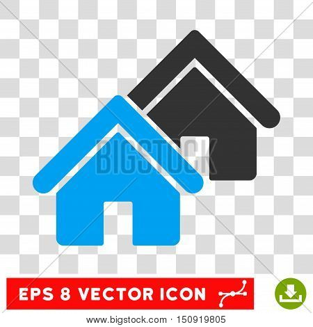 Vector Realty EPS vector pictograph. Illustration style is flat iconic bicolor blue and gray symbol on a transparent background.