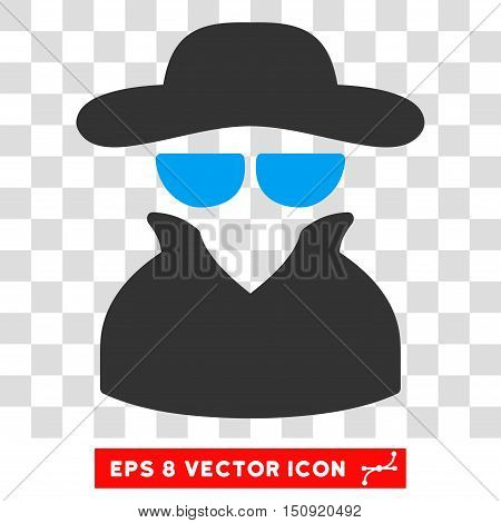 Vector Spy EPS vector icon. Illustration style is flat iconic bicolor blue and gray symbol on a transparent background.