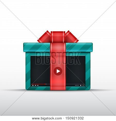 Gift video box with bow and ribbon. Vector illustration. Video lessons concept. Stream or presentaion. Free media or video content.