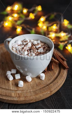 The cap of cacao with marshmallow and garland