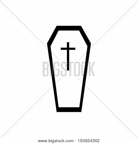 Coffin icon. Simple illustration of coffin vector icon for web