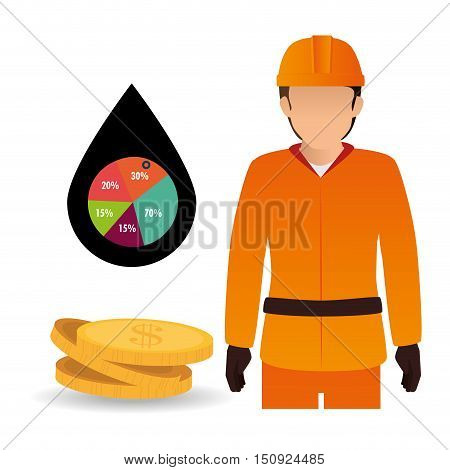 avatar man industrial worker with money coins and pin with pie chart. petroleum price theme. vector illustration