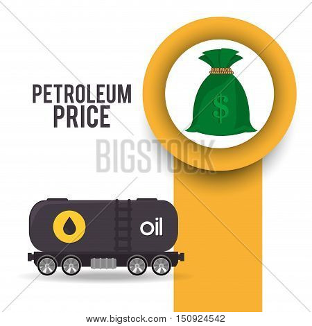 container tank with oil and money sack. petroleum price theme. vector illustration