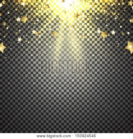Transparent background with flying stars. Vector illustration. Shiny background with lights of sparks. Sunburst effect.