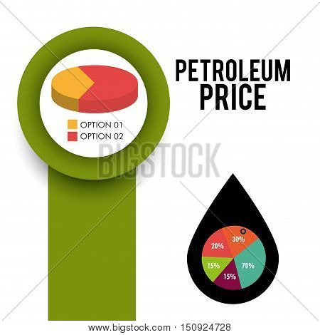 graphic charts and pie chart. petroleum price theme. vector illustration
