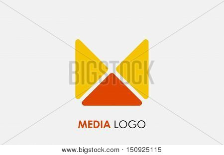 Abstract letter M logo design template. Colorful hexagon creative sign. Universal vector icon. Media logo