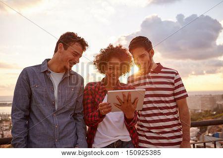 Three Happy Friends At Sun Set