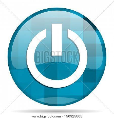 power blue round modern design internet icon on white background