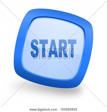 start blue glossy web design icon