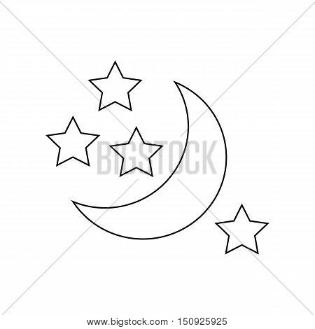 Moon and stars icon. Outline illustration of moon vector icon for web design