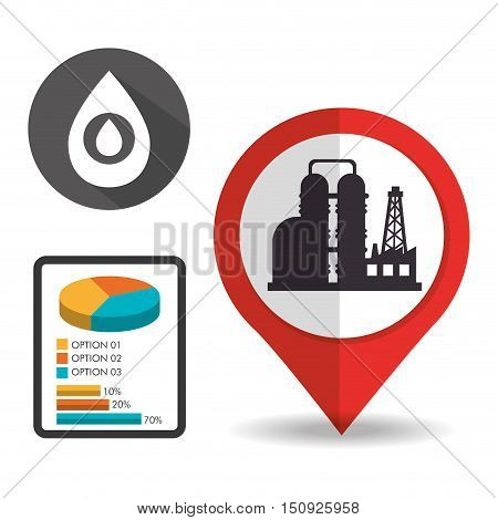 oil rig tower petroleum industry inside pin and pie graphic chart and black drop. vector illustration