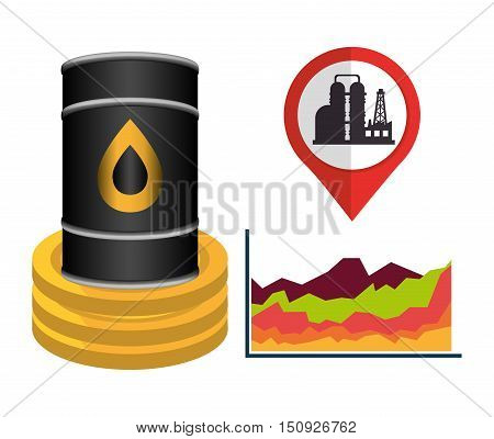 oil can with money gold coins and pin with oil rig tower. petroleum price design. vector illustration
