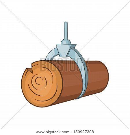 Hydraulic crane with log icon. Cartoon illustration of crane vector icon for web design