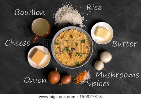 Risotto with mushrooms, fresh herbs and parmesan cheese. black chalkboard, top view. Inscription of ingredients written by chalk