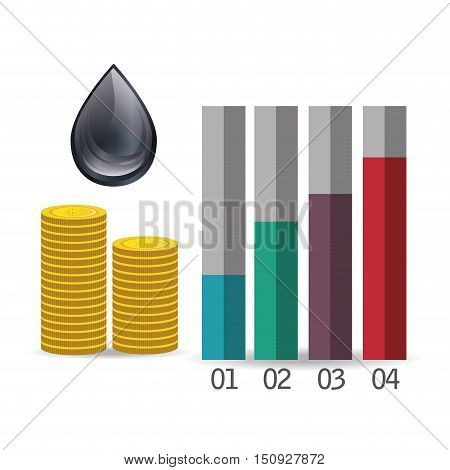 black drop and graphic chart with money coins. petroleum and oil price design vector illustration
