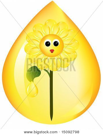 Sunflower with sunflower oil on white background