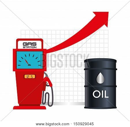 gas station pump with financial red arrow up and oil can. petroleum price design. vector illustration