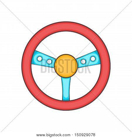 Game steering wheel icon. Cartoon illustration of wheel vector icon for web design