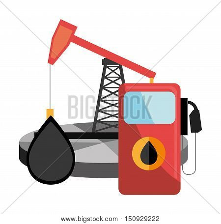 oil station pump with oil rig industrial tower. oil price design. vector illustration