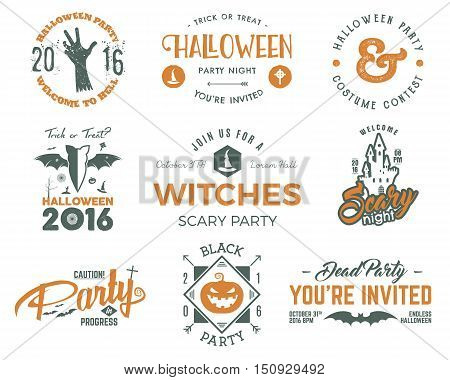 Halloween 2016 party labels templates with scary symbols - zombie hand, witch hat, bat, pumpkin, typography elements. For party posters, flyers, invitations, cards, t shirt, tee web, other identity