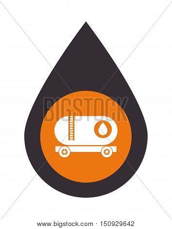 oil drop with tank trunk over orange circle. petroleum industry design. vector illustration