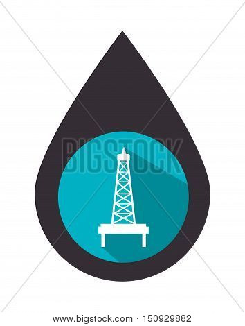 oil drop with industrial tower over blue circle. petroleum industry design. vector illustration