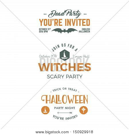Halloween 2016 party invitation label templates with holiday symbols - witch hat, bat, typography elements. Use for party posters, flyers, cards, invitations, t shirt, tee design, apparel. Vector.