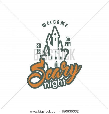 Halloween 2016 party label template with holiday symbols - halloween castle and typography elements scary nigjt. Use for party posters, flyers, invitations. On t shirt, tee and other identity. Color.