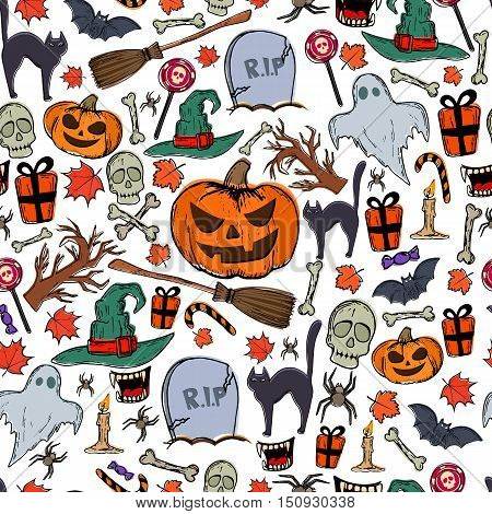 Seamless pattern of Halloween icons on a white background. Vector stock illustration.