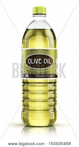 3D render illustration of plastic bottle of yellow refined vegetable olive cooking oil or organic fat isolated on white background with reflection effect