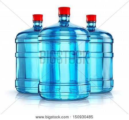 3D render illustration of the group of three blue 19 liter or 5 gallon plastic water bottles or containers isolated on white background with reflection effect