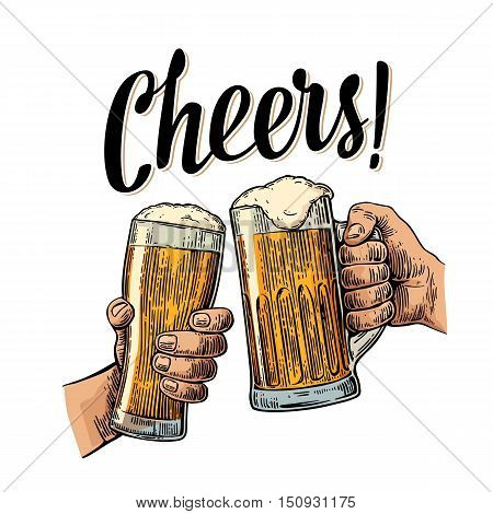 Two hands holding and clinking with two beer glasses mug. Cheers toast lettering. Vintage vector color engraving illustration for web poster invitation to beer party. Isolated on white background.